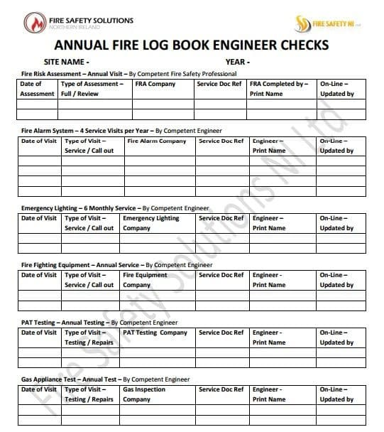 Fire safety northern ireland fire safety solutions ni for Fire alarm log book template