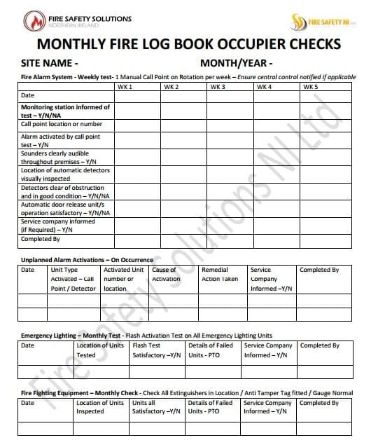 Fire safety log book occupier check training for Fire alarm log book template
